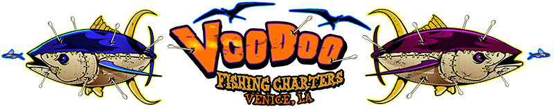 Louisiana Deep Sea Offshore Tuna Fishing Charters & Lodging in Venice LA – Red Fish Rod n Reel Charter with a New Orleans VooDoo Charter Logo